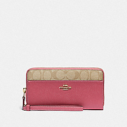 ACCORDION ZIP WALLET WITH SIGNATURE CANVAS DETAIL - LIGHT KHAKI/ROUGE/GOLD - COACH F76971