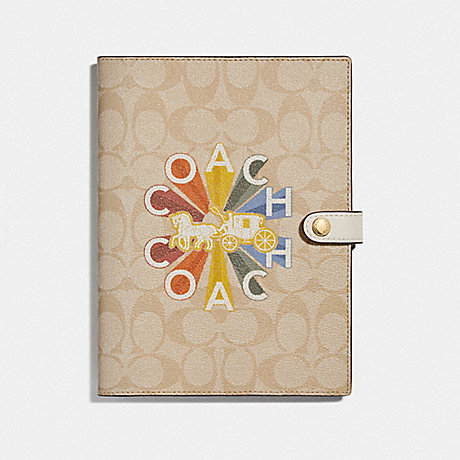 COACH NOTEBOOK IN SIGNATURE CANVAS WITH COACH RADIAL RAINBOW - MULTICOLOR - F76993