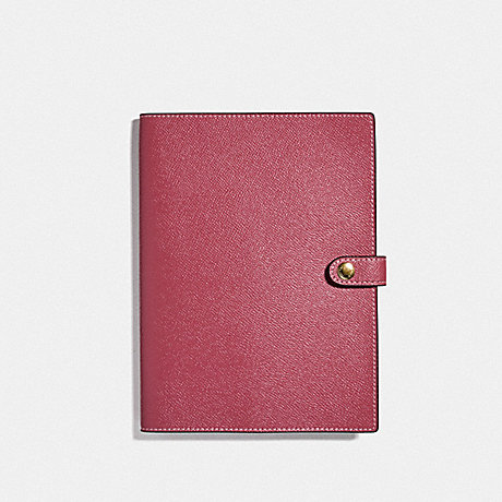 COACH NOTEBOOK WITH SIGNATURE CANVAS DETAIL - ROUGE - F77071