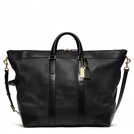 COACH CROSBY LEATHER DUFFLE - BRASS/BLACK - f77247