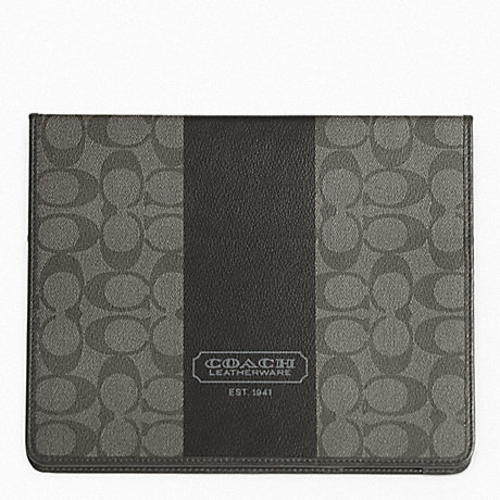 COACH COACH HERITAGE STRIPE TABLET CASE - SILVER/GREY/CHARCOAL - f77261