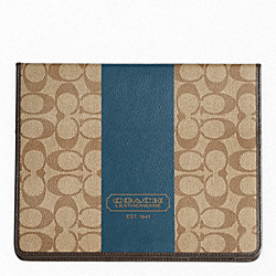 COACH HERITAGE STRIPE TABLET CASE - f77261 - SILVER/KHAKI/STORM BLUE
