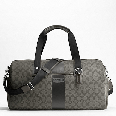 COACH HERITAGE STRIPE DUFFLE - SILVER/GREY/CHARCOAL - f77278