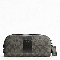 COACH COACH HERITAGE STRIPE TRAVEL KIT - SILVER/GREY/CHARCOAL - F77279