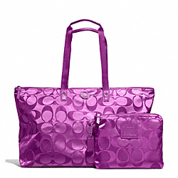 GETAWAY SIGNATURE NYLON LARGE PACKABLE WEEKENDER - SILVER/VIOLET - COACH F77316