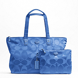 COACH F77321 - GETAWAY SIGNATURE NYLON PACKABLE WEEKENDER SILVER/COOL BLUE