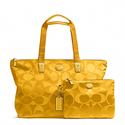 GETAWAY SIGNATURE NYLON PACKABLE WEEKENDER - SILVER/SUNFLOWER - COACH F77321