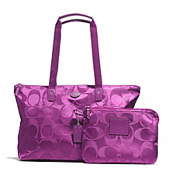 GETAWAY SIGNATURE NYLON PACKABLE WEEKENDER - SILVER/VIOLET - COACH F77321