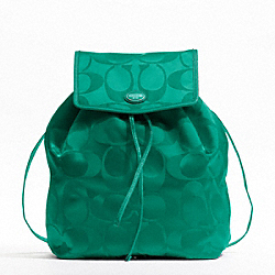 COACH F77350 - GETAWAY SIGNATURE PACKABLE BACKPACK SILVER/BRIGHT JADE