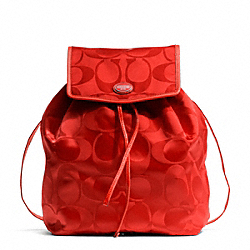 GETAWAY SIGNATURE PACKABLE BACKPACK - SILVER/VERMILLION - COACH F77350