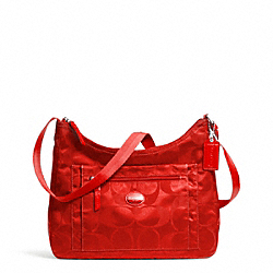 COACH GETAWAY SIGNATURE PACKABLE CROSSBODY - SILVER/VERMILLION - F77369
