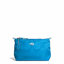 COACH GETAWAY SIGNATURE NYLON MINI COSMETIC POUCH - SILVER/BLUE - F77382