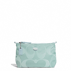 GETAWAY SIGNATURE NYLON MINI COSMETIC POUCH - SVBZV - COACH F77382