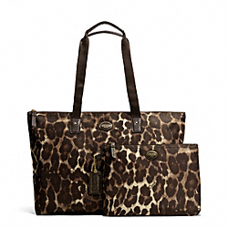 COACH GETAWAY OCELOT PRINT PACKABLE WEEKENDER - BRASS/MAHOGANY MULTI - F77405