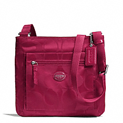 COACH GETAWAY SIGNATURE NYLON FILE BAG - SILVER/FUCHSIA - F77408