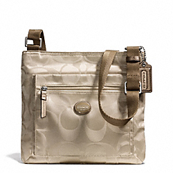 COACH GETAWAY SIGNATURE NYLON FILE BAG - SILVER/LIGHT KHAKI - F77408