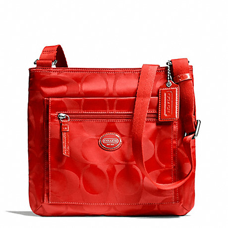 COACH f77408 GETAWAY SIGNATURE NYLON FILE BAG SILVER/VERMILLION