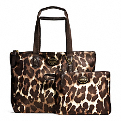 COACH GETAWAY OCELOT PRINT SMALL PACKABLE TOTE - BRASS/MAHOGANY MULTI - F77442