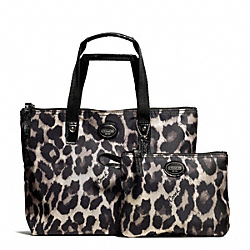 COACH GETAWAY OCELOT PRINT SMALL PACKABLE TOTE - SILVER/BLACK MULTI - F77442