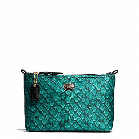 COACH GETAWAY SNAKE PRINT MINI COSMETIC POUCH - BRASS/EMERALD - f77444