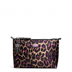 GETAWAY OCELOT PRINT MINI COSMETIC POUCH - SILVER/VIOLET MULTI - COACH F77447