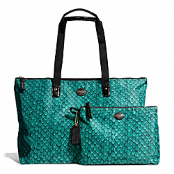 GETAWAY SNAKE PRINT PACKABLE WEEKENDER - BRASS/EMERALD - COACH F77461