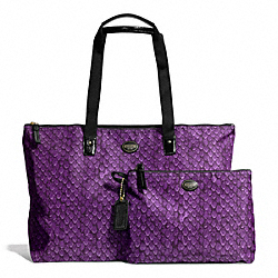 COACH GETAWAY SNAKE PRINT PACKABLE WEEKENDER - BRASS/PURPLE - F77461