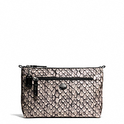 GETAWAY SNAKE PRINT COSMETIC POUCH - f77462 - SILVER/GUNMETAL