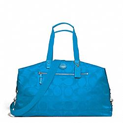 GETAWAY SIGNATURE NYLON DUFFLE - SILVER/BLUE - COACH F77469