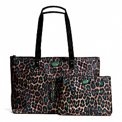 COACH GETAWAY OCELOT PRINT PACKABLE WEEKENDER - BRASS/JADE MULTICOLOR - F77475
