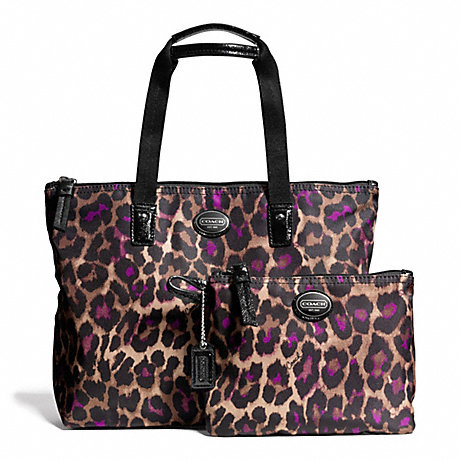COACH f77476 GETAWAY OCELOT PRINT SMALL PACKABLE TOTE