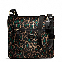 COACH GETAWAY OCELOT PRINT FILE BAG - BRASS/JADE MULTICOLOR - F77479