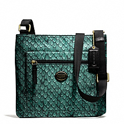 COACH GETAWAY SNAKE PRINT FILE BAG - BRASS/EMERALD - F77481