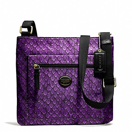 COACH f77481 GETAWAY SNAKE PRINT FILE BAG BRASS/PURPLE