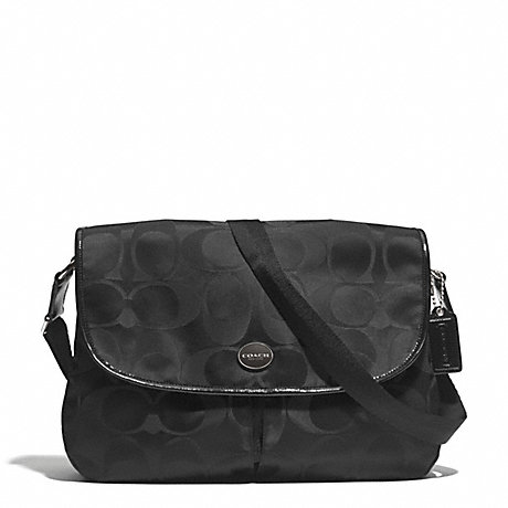 COACH f77490 SIGNATURE NYLON MESSENGER SILVER/BLACK/BLACK