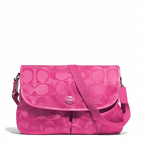 COACH SIGNATURE NYLON MESSENGER - SILVER/HOT PINK - f77490