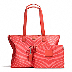 COACH GETAWAY ZEBRA PRINT WEEKENDER - SILVER/HOT ORANGE - F77526