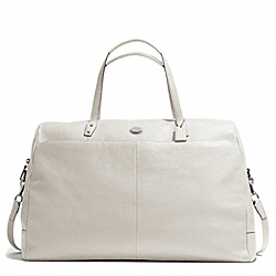 PEBBLED LEATHER LARGE BOSTON BAG - SILVER/IVORY - COACH F77544