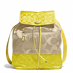 COACH SIGNATURE NYLON COLORBLOCK BACKPACK - SILVER/LIGHT KHAKI/CITRINE - F77559