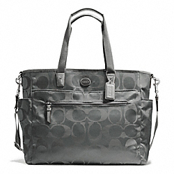 COACH SIGNATURE NYLON BABY BAG - SILVER/GREY - F77577