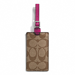 SIGNATURE COATED CANVAS LUGGAGE TAG - SILVER/KHAKI/RASPBERRY - COACH F77590