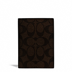 SIGNATURE COATED CANVAS PASSPORT CASE - SILVER/BROWN/BLACK - COACH F77603