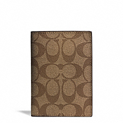 SIGNATURE COATED CANVAS PASSPORT CASE - SILVER/KHAKI/RASPBERRY - COACH F77603