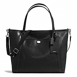 COACH PEYTON SAFFIANO XL POCKET TOTE - SILVER/BLACK - F77606