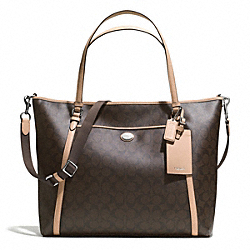 COACH PEYTON SIGNATURE XL POCKET TOTE WITH SAFFIANO TRIM - SILVER/BROWN/TAN - F77612
