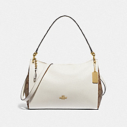MIA SHOULDER BAG WITH SIGNATURE CANVAS DETAIL - KHAKI/CHALK MULTI/GOLD - COACH F77692