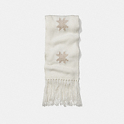 SPARKLE STAR INTARSIA SCARF - f77716 - WHITE/GOLD