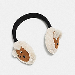 COACH BEAR SHEARLING EARMUFFS - BLUE/CREAM - F77731