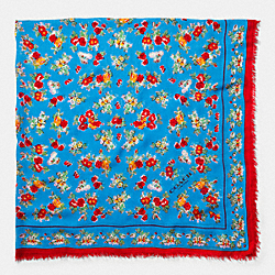 FLORAL WOVEN OVERSIZED SQUARE SCARF - f77801 - AZURE
