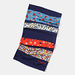 COACH FLORAL PATCHWORK OBLONG SCARF - NAVY MULTI - F77802